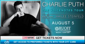 Charlie Puth with Hailee Steinfeld @ Ruoff Home Mortgage Music Center | Noblesville | Indiana | United States