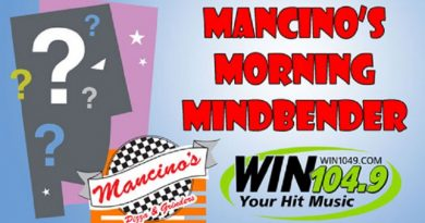 Mancino's Pizza And Grinders Morning Mindbender Answers: 01-08 to 01-12